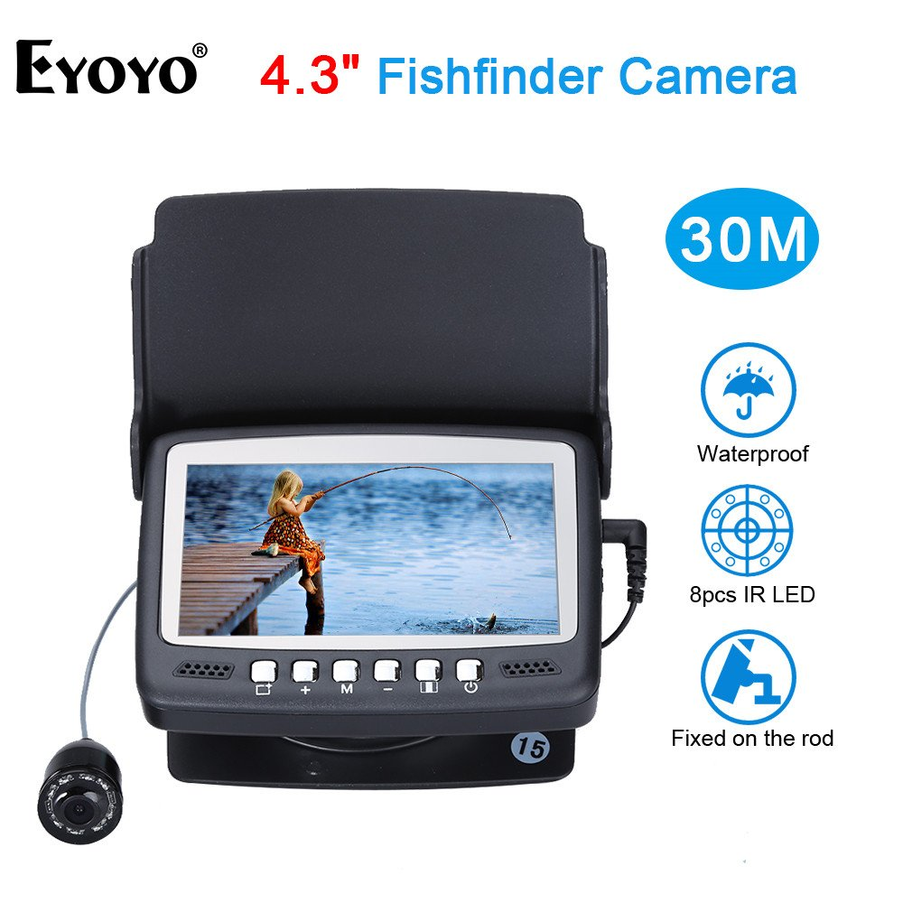 Eyoyo 15M 4.3'' LCD Ice/Sea Fish Finder 1000TVL Underwater Fishing Camera with Sun-Visor by Eyoyo