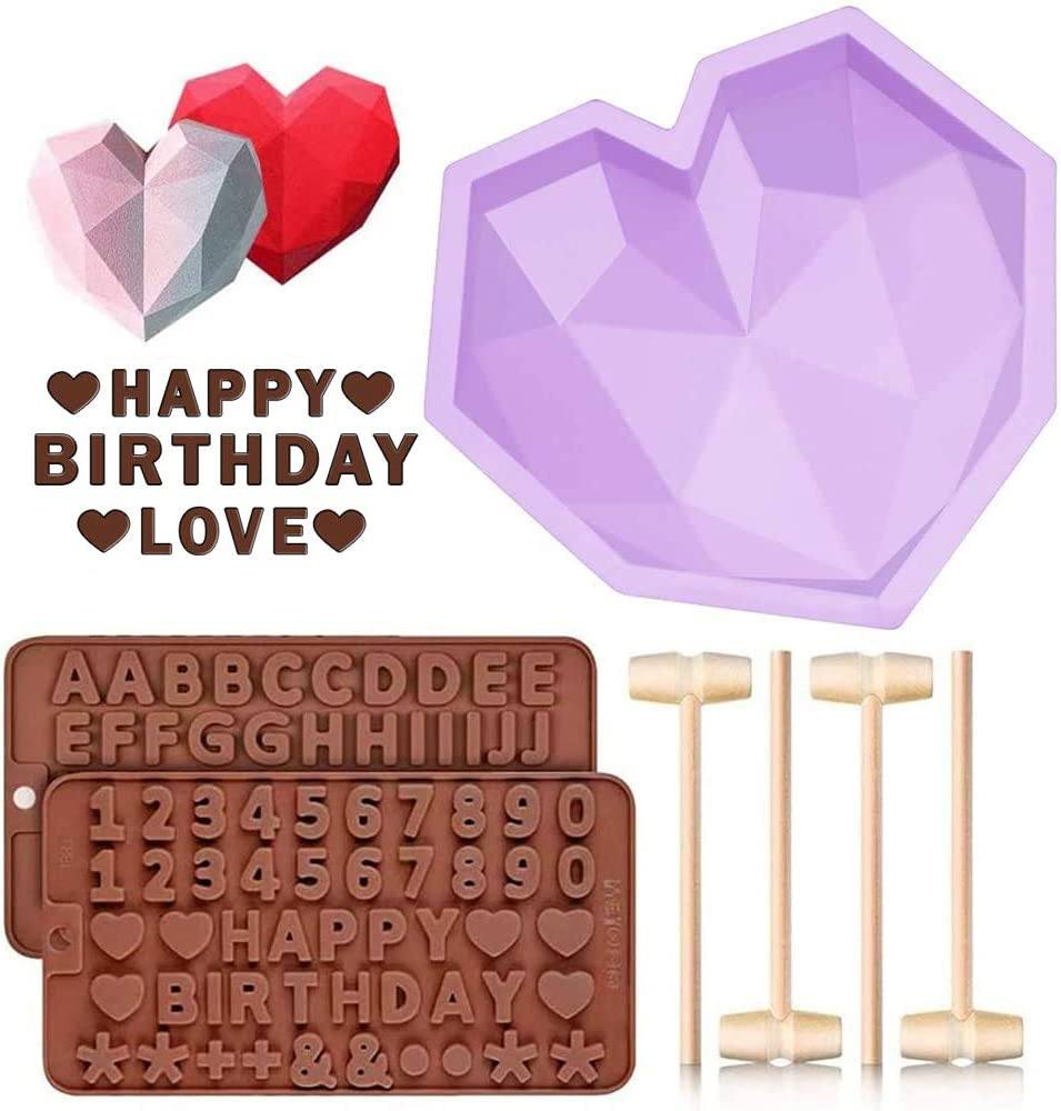 Diamond Heart Shaped Mousse Cake Mold Trays, 8.7 inch Silicone Dessert Baking Pan Safe Not Sticky Mould with 4 Pcs Wooden Hammers and 2 Chocolate Molds for Valentine Candy Chocolate Making (Purple)