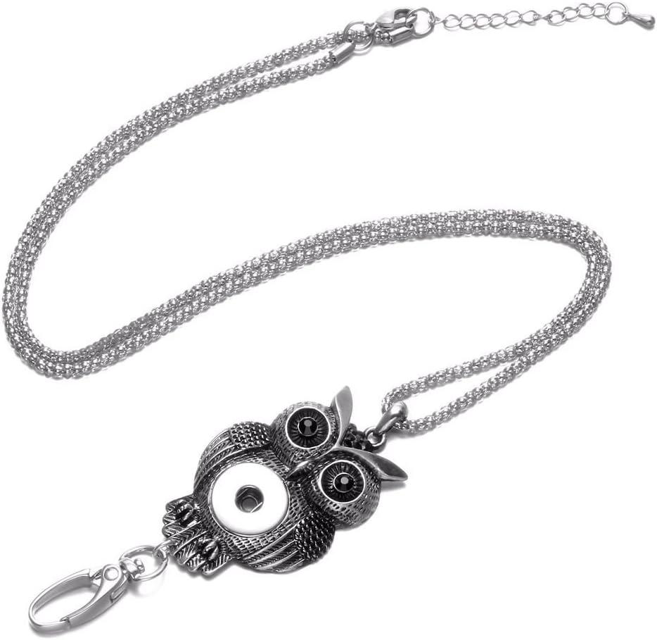 Coeur damour Soleebee 87cm Cha/îne en argent interchangeable ID Badge Lanyard Collier avec 9 pcs Bouton Pression en verre de cristal
