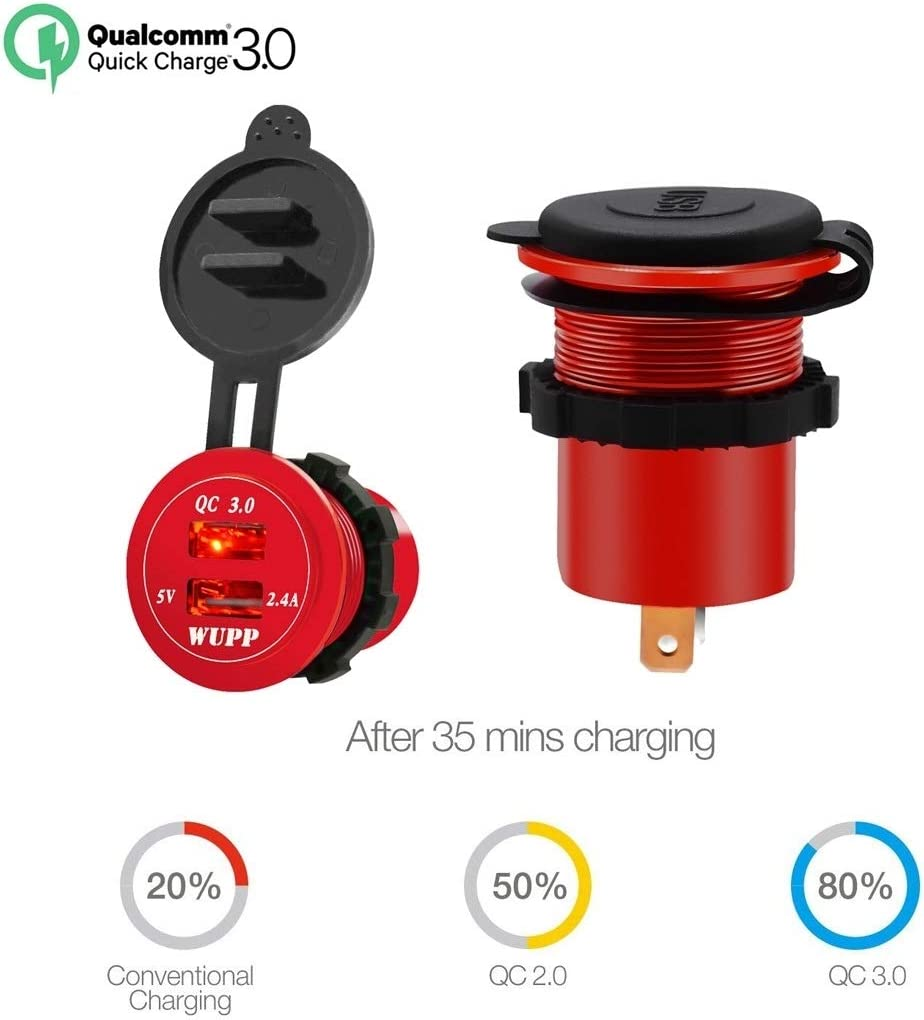 DSRD AYS Universal Car QC3.0 Dual Port USB Charger aluminiumlegering 2-poort USB Adapter 5V 2.4A IP66 (blauw licht) (Color : Orange Light) Red Light