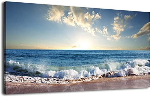 Canvas Wall Art Beach Wave Sunset Nature Pictures Modern Large Canvas Artwork Ocean Summer Landscape Contemporary Wall Art Framed Ready to Hang Living Room Bedroom Kitchen Office Home Decor 30″ x 60″