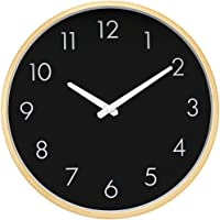 HIPPIH Large Silent Wall Clock - Non Ticking Digital Quiet Sweep Decorative Vintage Wooden Clocks