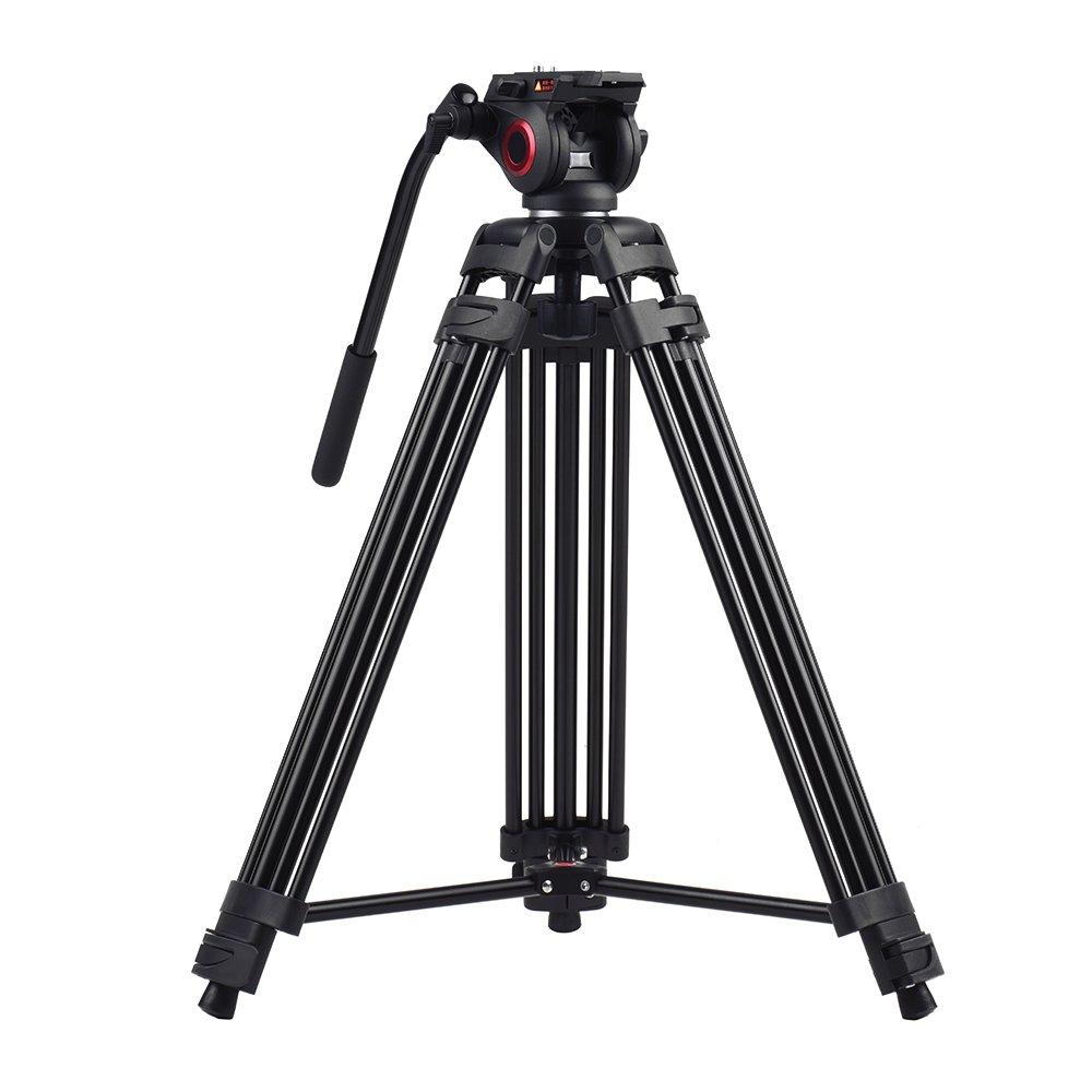 Andoer MTT601A プロ三脚 3段 アルミ合金製 写真 三脚スタンド 360°パノラマ フルード 油圧ボウルヘッド & クリニングクロス付き 最高153cm / 5ft 耐荷重10kg Canon Nikon Sony DSLRカメラ ビデオカメラ   B06XX9LM4C