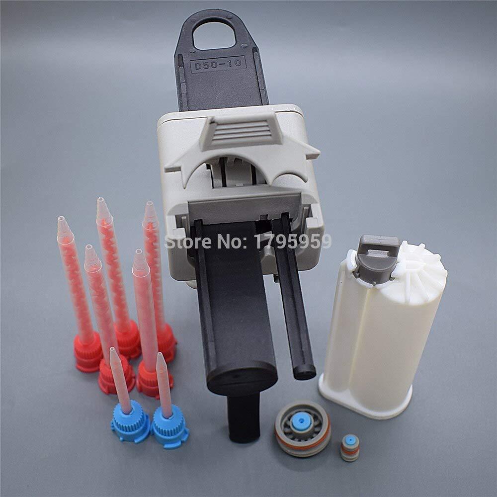 Kamisa AB Glue Gun 50ml 10:1 Manual Caulking Gun Dispenser with 50ml 10:1 Empty Dual-Barrel Cartridge and 10:1 AB Static Mixing Nozzle by KAMISA