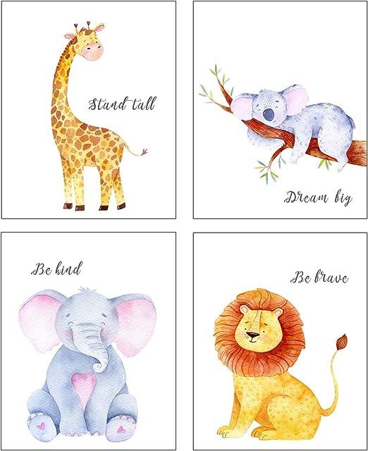 Pink or Yellow 4 Print Set Elephant Nursery Room Prints Blue Kids wall decor