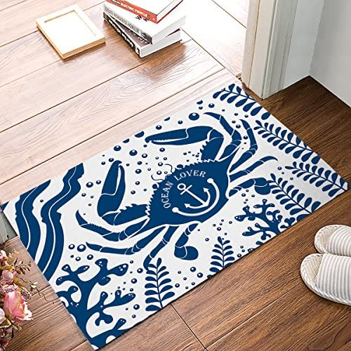 EZON-CH Modern Non Slip Watercolor Sea World Animal Home Bathroom Bath Shower Bedroom Mat Toilet Floor Door Mat Rug Carpet Pad Doormat Bubble Crab 18×30