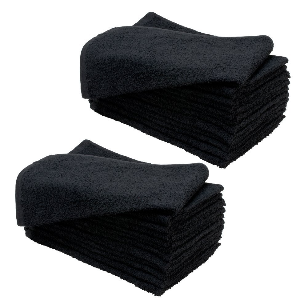 20 Towels (16'' x 29'') BLACK Microfiber Bleach Chemical Resistant Salon Spa Towels Proof, Comes with