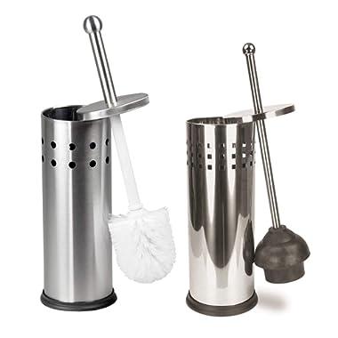 Elaine Karen Deluxe 2 pc Vented Toilet Bowl Brush, Plunger - 2 pc Set - Stainless