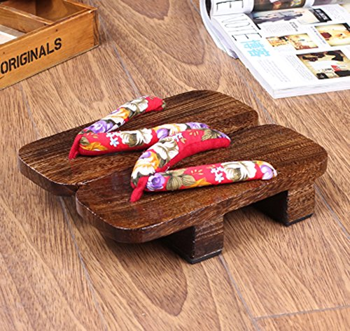 CRB Fashion Womens Mens Japanese Wooden Traditional Kimono Geta Sandals Clogs Red Flowers OGQ3Or3vlc