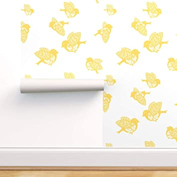 Spoonflower Peel And Stick Removable Wallpaper Yellow Sparrows Birds White Nursery Decor Baby Bird Animals Children Print Self Adhesive Wallpaper 24in X 144in Roll Amazon Com