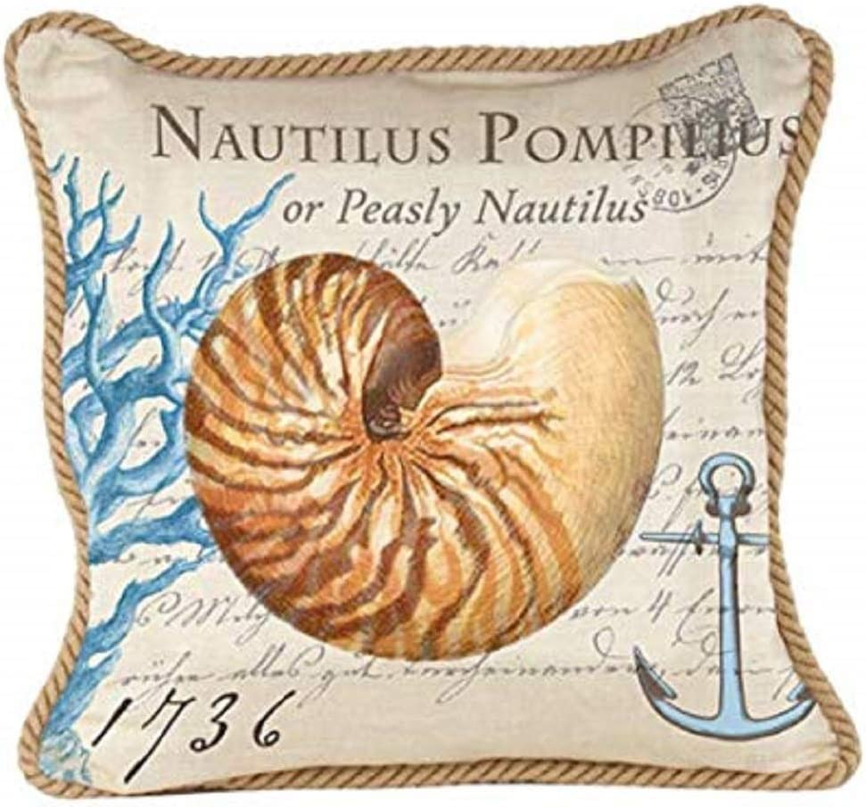 Michel Design Works Decorative Square Throw Pillow, 18 x 18-Inch, Nautilus