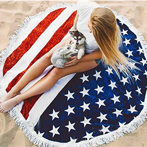 US Flag Pattern Beach Towel Round Roundie Beach Throw Tapestry Fringe Tassel Wall Hanging Table Cloth Yoga Mat
