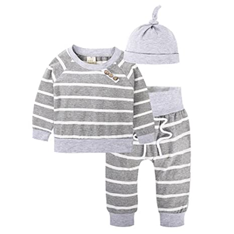 qseven primavera y otoño – gris bebé 3sets-baby camiseta + sombrero + pantalones ropa