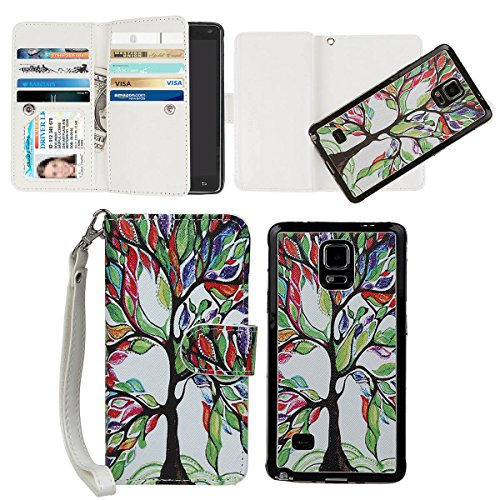 Case Fashion Wristlet (xhorizon Tree and Leaf [Magnetic Detachable] Premium PU Leather Wallet Wrist Strap Purse Flip Book Style 9 Card Slots Folio Stand Protective Case Cover for Samsung Galaxy Note 4)