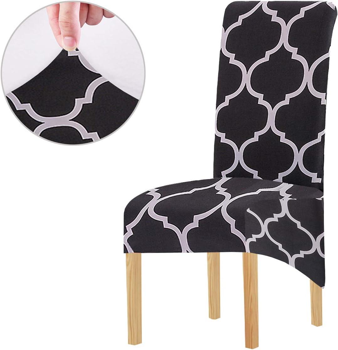 KELUINA Tela de impresión Estiramiento XL Fundas para sillas de comedor, 2/4/6 piezas Funda elástica para silla grande para Decoración de fiesta de banquete de boda (Negro-01,2 Pack): Amazon.es: Hogar
