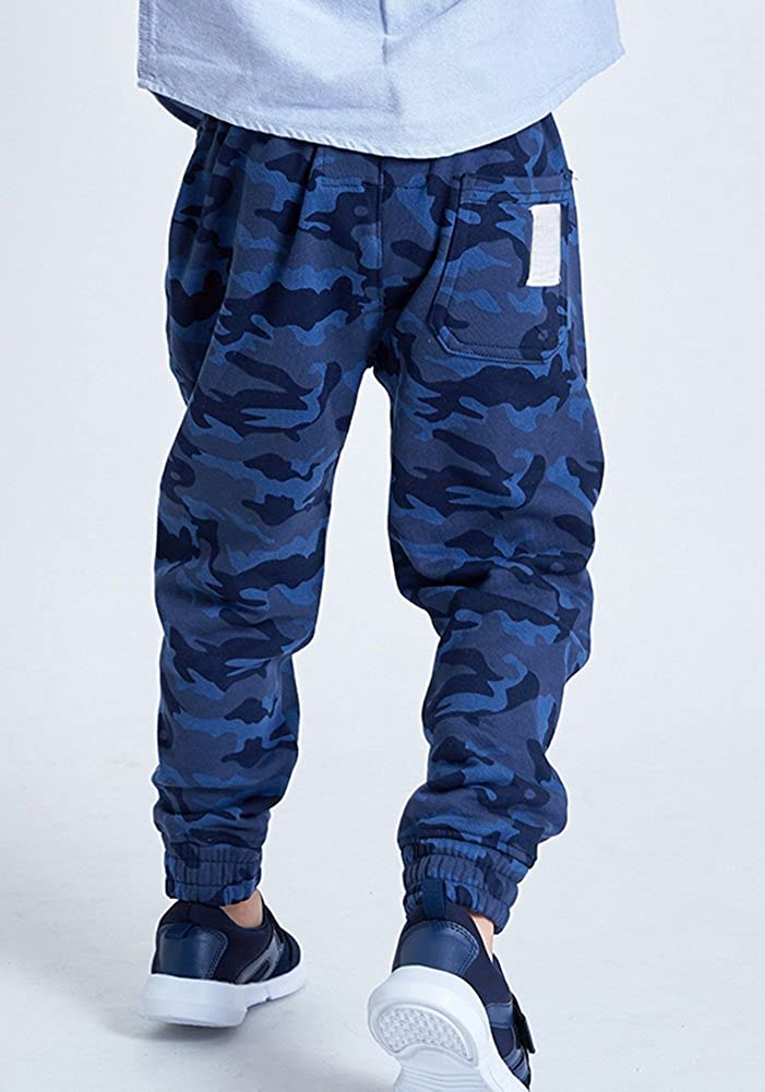 KINDER365 Boys Camo Paneled Seam Drawstring Elastic Joggers Sweatpants