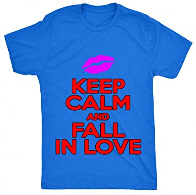 Renowned Keep calm and fall in love Unisex - Kinder T Shirt - Blau - XS