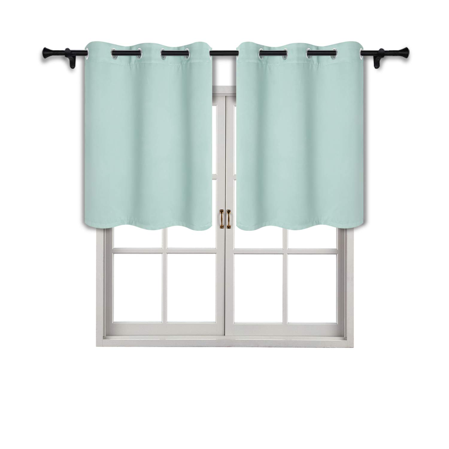 SUO AI TEXTILE Blackout Grommet Curtains for Kitchen-Home Decor Thermal Insulated Grommet Tier Valance 42x36 Inch Mint Green 2 Panels