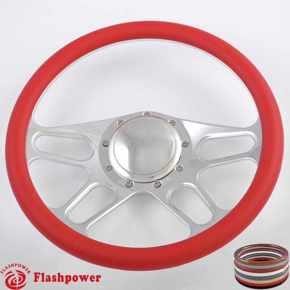 Flashpower 14 Billet 4-slot Half Wrap 9 Bolts Steering Wheel with 2 Dish and Horn Button Dark Grey