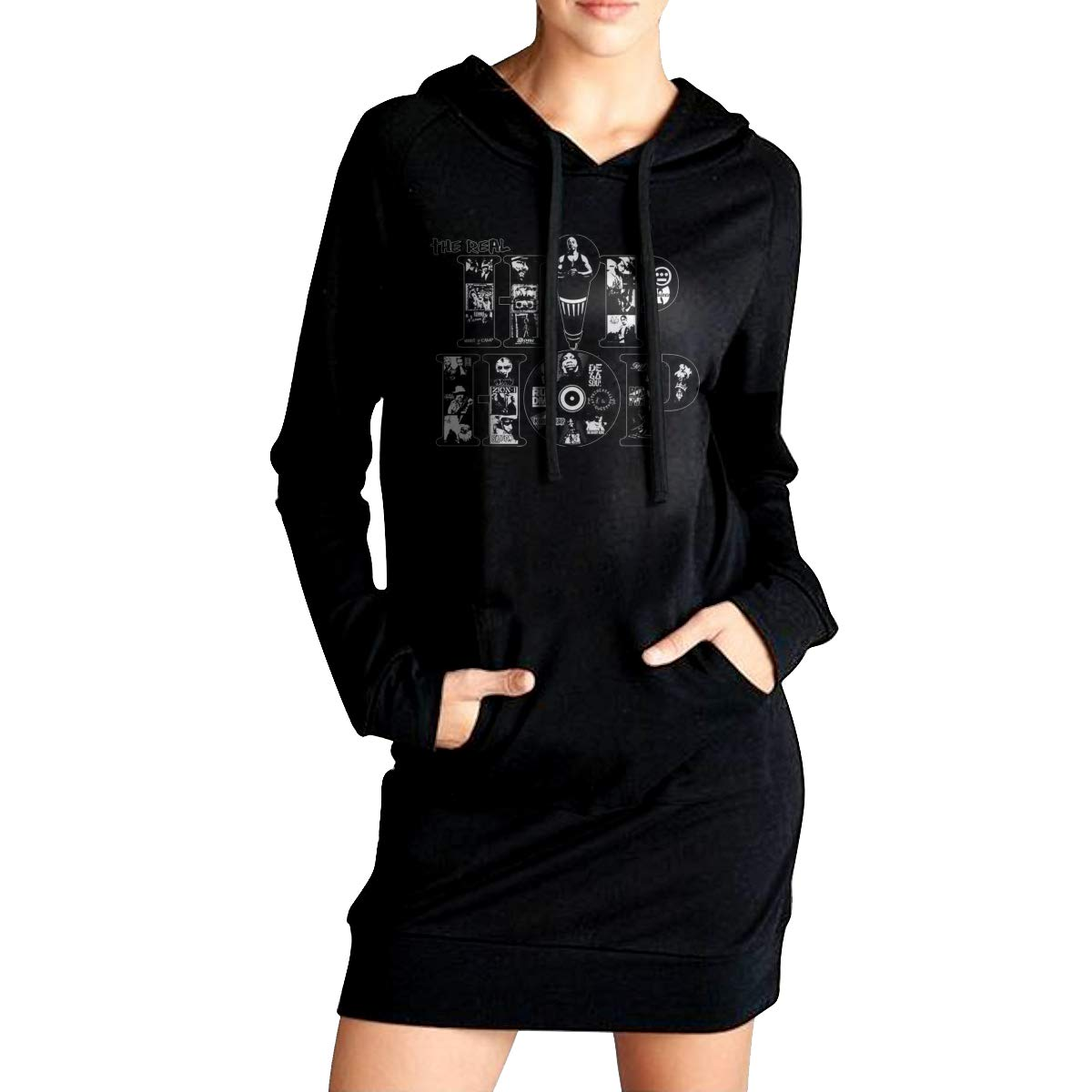 Sunshine The Real Hip HOP Womens Long Sleeve Hooded Loose Casual Pullover Hoodie Dress Tunic Sweatshirt Dress with Pockets