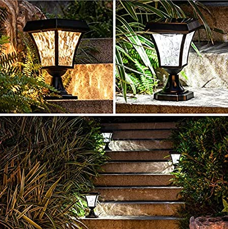 SMX Luminaria Decorativa Poste for Exterior, Impermeable IP55 Bolardo Solar Vintage Jardín Piscina Suelo Césped Acabado Negro con Vidrio Transparente con Interruptor táctil (Color : Warm Light): Amazon.es: Hogar
