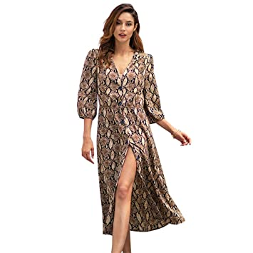 Women Leopard Print Midi Dress Lady Long Sleeve V Neck Party Wrap Shirt Dress