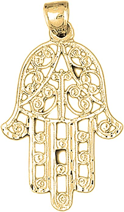 14K Yellow Gold-plated 925 Silver Hamsa Pendant with 16 Necklace Jewels Obsession Chamsah Necklace