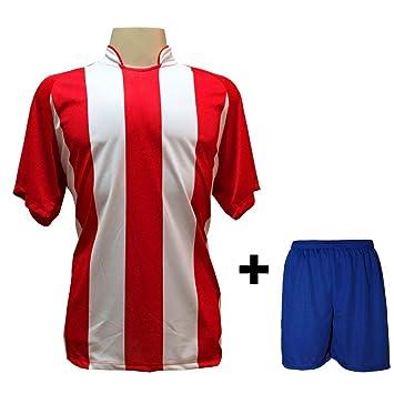 Uniforme Esportivo com 12 camisas modelo Milan Vermelho Branco + 12 calções  modelo Madrid Royal 96f09d601119b