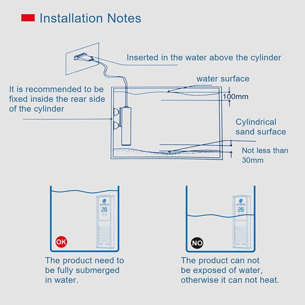 100W, Titanium Alloy Titanium Alloy Submersible Fish Tank Heater with Adjustable Temperature for 45-90L Fish tanks JanTeel 100W LED Digital Display Aquarium Water Heater