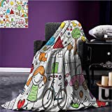Doodle travel blanket Simple Childlike Drawing of House Girl and Boy Teddy Bear and Various Other Things Flannel blanket Multicolor size:50''x60''