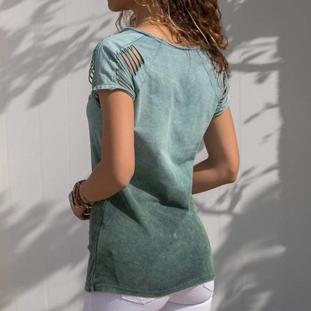 MRULIC Damen Kurzarm T-Shirt Rundhals Ausschnitt Lose Hemd Pullover Sweatshirt Oberteil Tops
