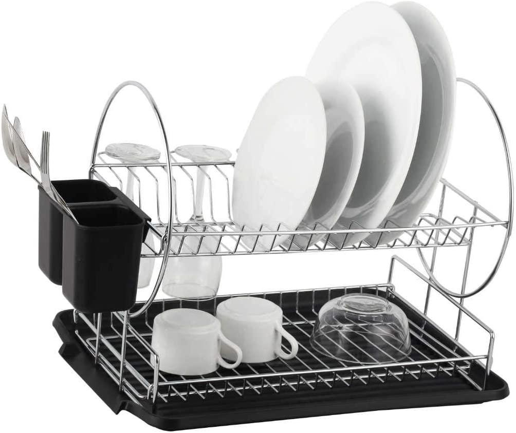 Deluxe Chrome Plated Steel 2 Tier Dish Rack With Drainboard Cutlery Cup Blackii Kitchen Dining