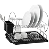 Deluxe Chrome-plated Steel 2-Tier Dish Rack with Drainboard/Cutlery Cup (BlackII)