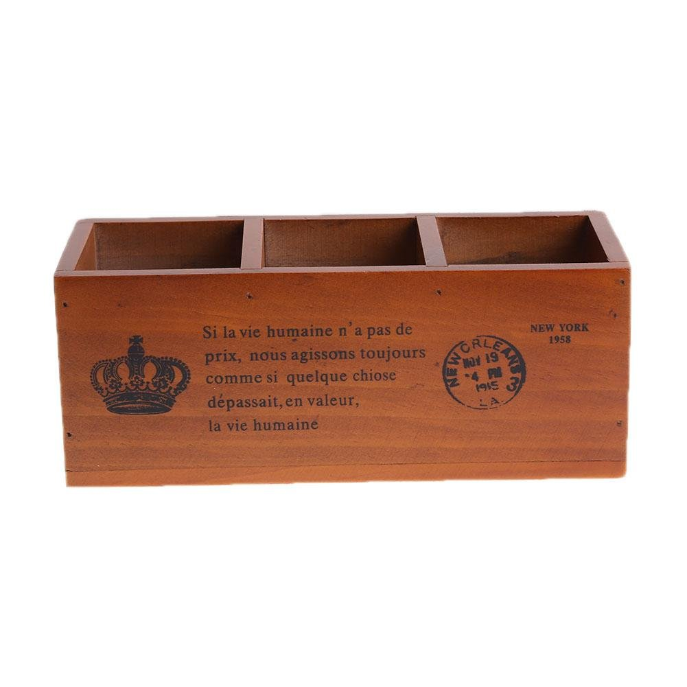 Whitelotous 3 Compartments Wooden Divided Boxes Desktop Storage Home Office Organizer Case 9.45 x 3.74 x 3.74 inch