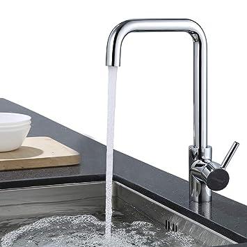 Top ubeegol Messing Chrom Küchenarmatur 360° Drehbar Wasserhahn Küche JI96