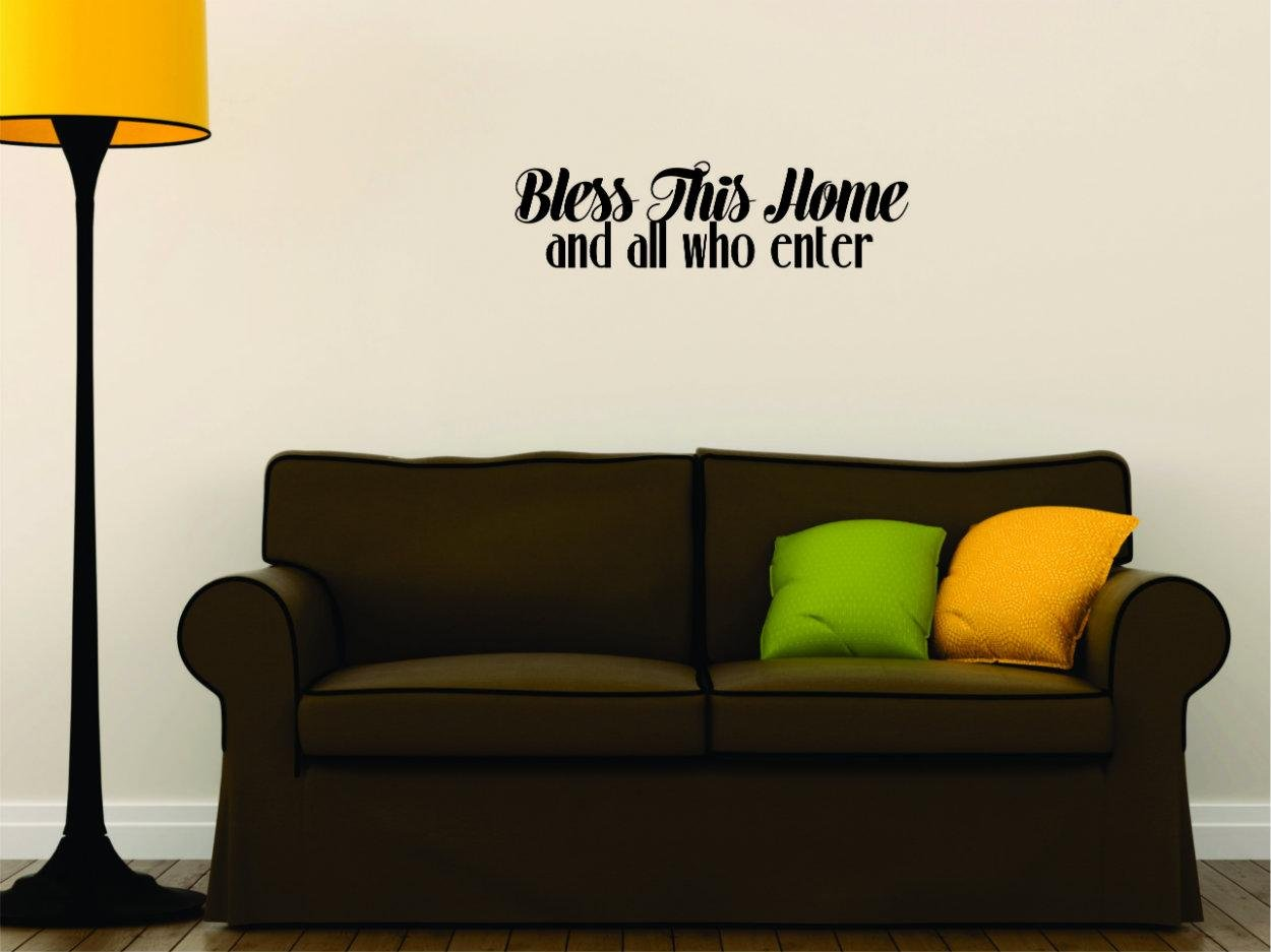 Design with Vinyl Moti 2016 2 Bless This Home and All Who Enter Living Room Bedroom Quote Peel /& Stick Wall Sticker Decal Black 12 x 30