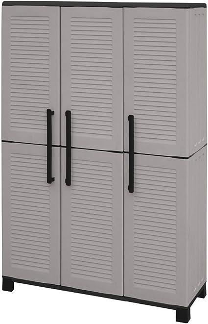SIBrand Divina Home armario de resina 102 x 37 x h169 cm gris 3 puertas muebles exterior dh52922: Amazon.es: Jardín