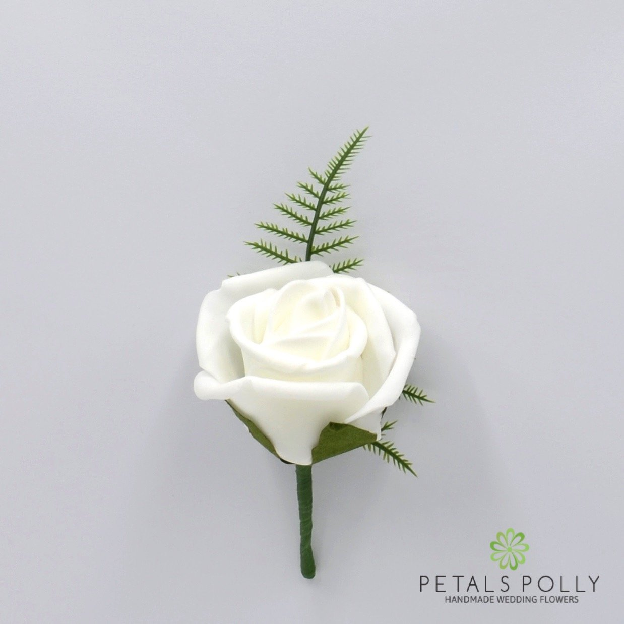 Artificial Wedding Flowers Hand-made by Petals Polly, FOAM ROSE BUTTONHOLE IN WHITE PETALS POLLY FLOWERS