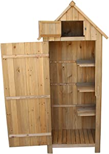 MELD Fir Wood Arrow Shed with Single Door Wooden Garden Shed Wooden Lockers Wood Color