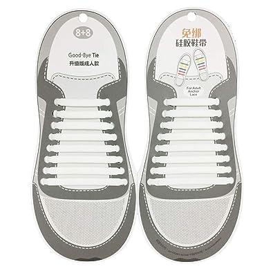615159c82947f Trifycore No hay lazo cordones de los zapatos silicona resistente al agua cordones  elásticos atléticos de la zapatilla de deporte planas 1 par de blanco  ...