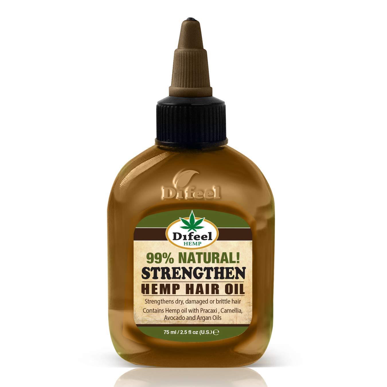 Difeel Hemp 99% Natural Hemp Hair Oil - Strengthen 2.5 ounce