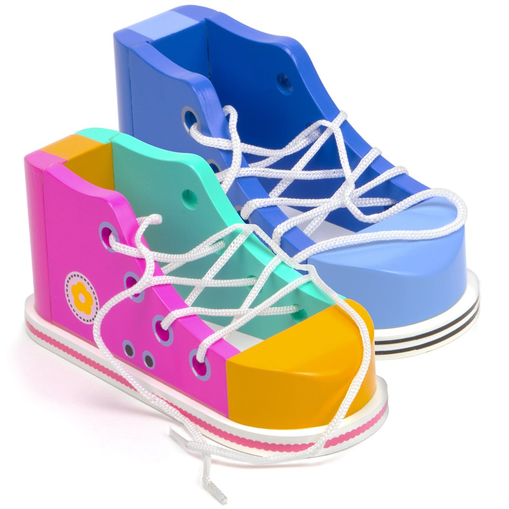Cool Kicks Shoebox Pair of Lacing Sneakers Wooden Practice Lace Up Tie Shoes in Pink and Blue with One Loop Method Instructions by Imagination Generation
