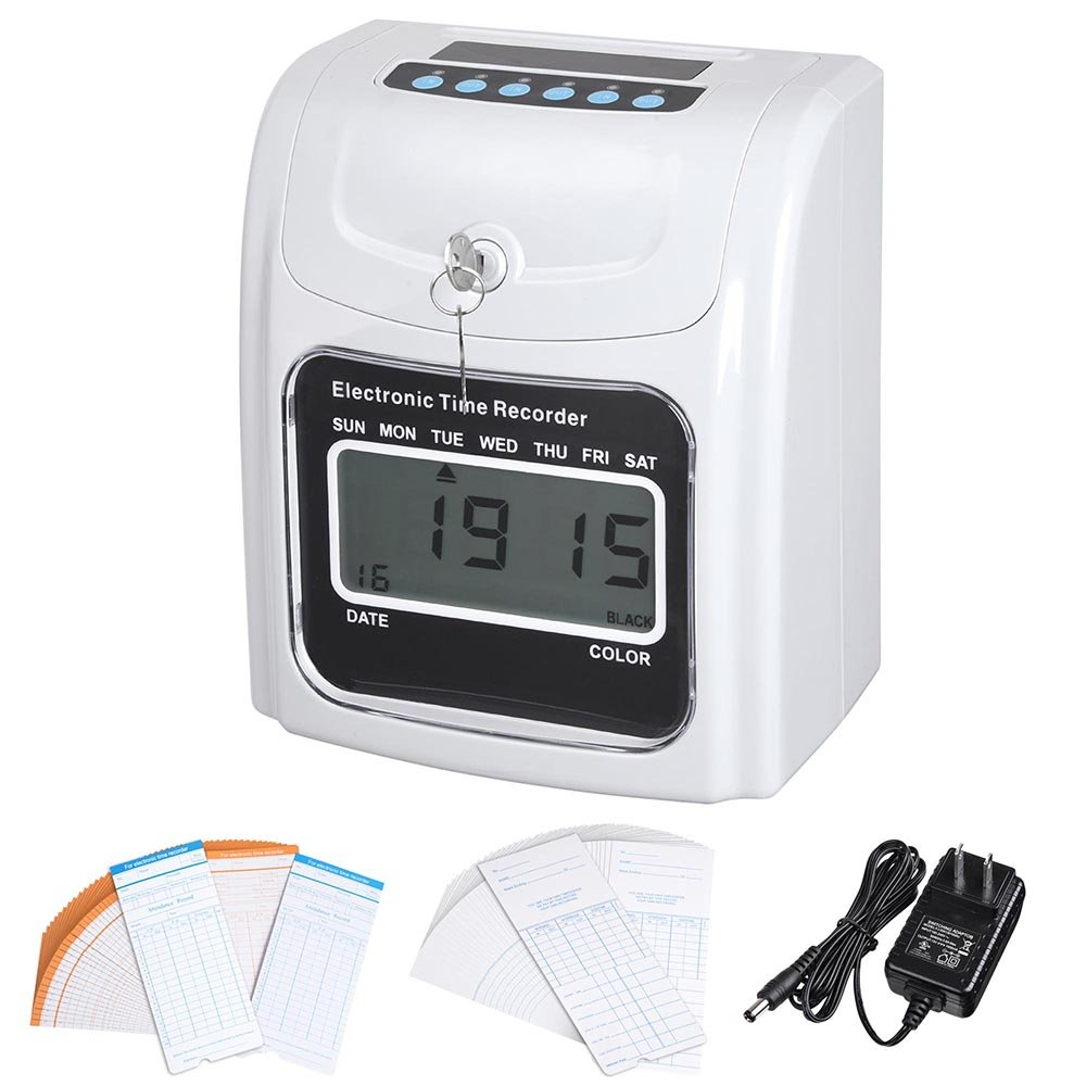 Yescom Employee Attendance Punch Time Clock Payroll Recorder LCD Display w/ 100 Cards by Yescom