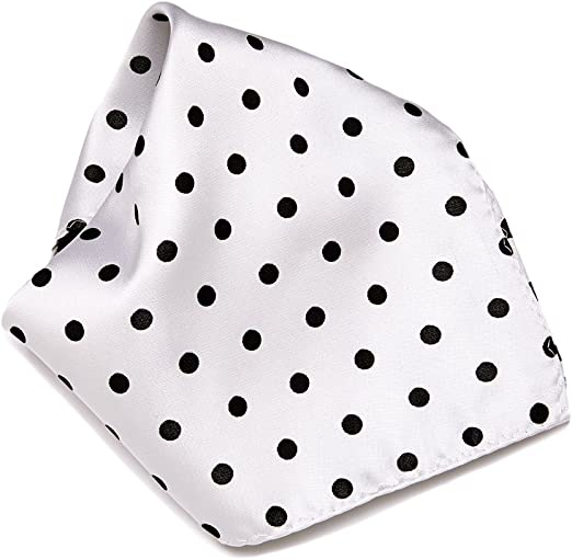 Silk Pocket Square Mens Handmade Designer Black Polka Dot Handkerchief Suit