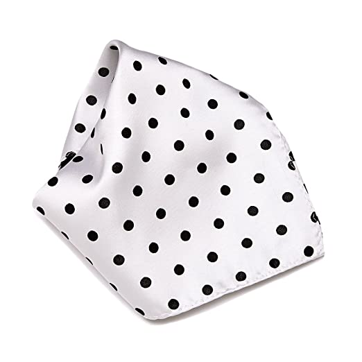 c544bd98bccf Image Unavailable. Image not available for. Color: WHITE with BLACK Polka Dots  Handkerchief Pocket ...