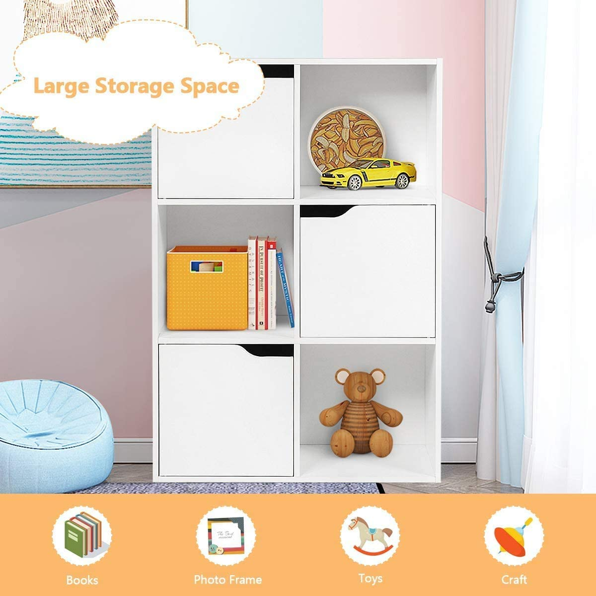 Modern Wood Bookcase Sideboard Locker Multi Compartment Organiser Display Shelf 60x29x90cm COSTWAY 6 Cube Storage Cabinet with 3 Cupboard Doors