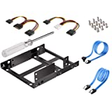 SSD Mounting Bracket, 2X 2.5 Inch SSD to 3.5 Inch Internal Hard Disk Drive Mounting Kit Bracket with SATA Data Cables and Pow