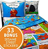 Sesame Street Full Bedding and Wall Sticker Set Elmo Cookie Monster Comic Strip Bedroom