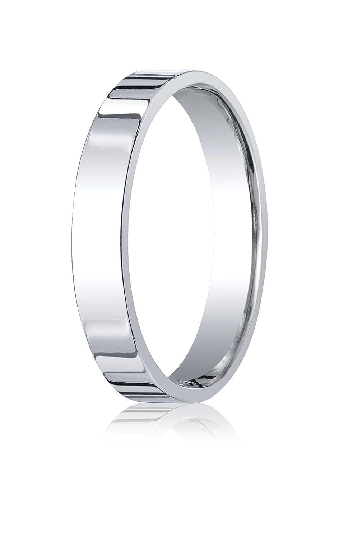 Mens 14K White Gold 4mm Flat Comfort Fit Wedding Band Ring