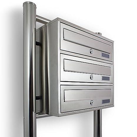 BITUXX/® Stand-Briefkastenanlage Postkasten Letterbox Mailbox Doppelt mit 6 F/ächer Dunkelgrau Anthrazit